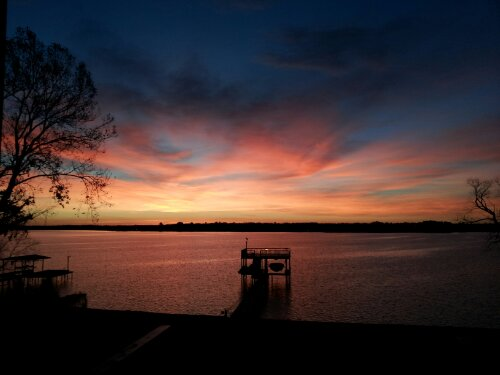 """A Sunrise each morning at Cedar Creek Lake in East Texas,  reminds me of all the blessings the Lord has rendered me."" copyright 2014 John J. Rigo. Taken January 11th, 2013."