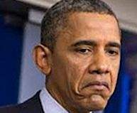 President Obama mirroring the face of the average US taxpayer under his administration.