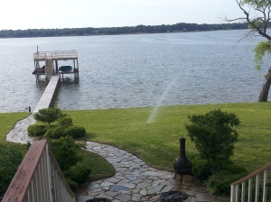 """More views from porch of Lakefront home on Cedar Creek Lake in East Texas"" copyright 2014 John J. Rigo"