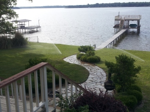 """Views from porch at OZ Lakehome on Cedar Creek Lake in East Texas"" copyright 2014 John J. Rigo"