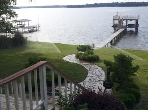 """Views from porch at OZ Lakehome on Cedar Creek Lake in East Texas"" copyright 2014 John J. Rigo"