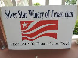 Log/trademark sign for Silver Star Winery of Texas copyright 2014 John J. Rigo