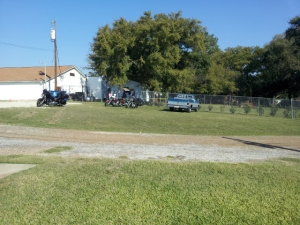 Motor Cycle Meeting at Illegally built building behind American Legion 310 in Gun Barrel City, Texas.  A tax paying community looking forward to a day of illegal drinking and drugging in our community of Northwood Shores in GBC.  Copyright 2014 by John J. Rigo