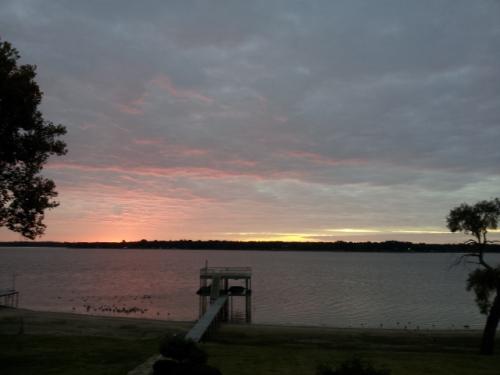 Lake front picture taken on Cedar Creek lake in East Texas.  Taken November 14, 2014 at 6:49 a.m. with Samsung Smart phone, copyright 2014 by John J. Rigo