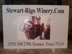 "New Sign for ""Stewart-Rigo Winery"" formerly ""Silver Star Winery of Texas"" copyright 2014 John J. Rigo"