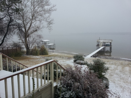 Snow Day at Northwood Shores on Cedar Creek Lake in Gun Barrel City, Texas.  Shot with Samsung smartphone on February 25th, 2015 at 9:57 a.m. by John J. Rigo. Copyright 2015 by John J. Rigo